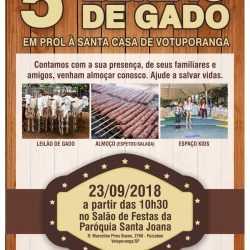 Leilão de Gado em prol à Santa Casa será neste domingo